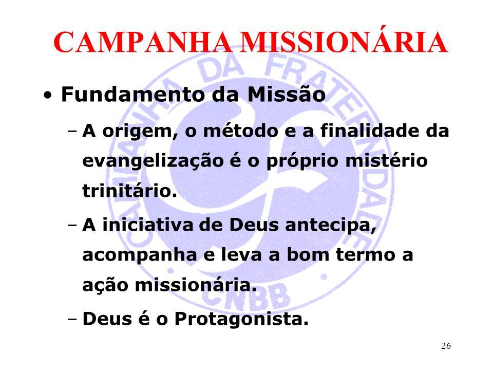 CAMPANHA MISSIONÁRIA Fundamento da Missão –A origem, o método e a finalidade da evangelização é o próprio mistério trinitário. –A iniciativa de Deus a