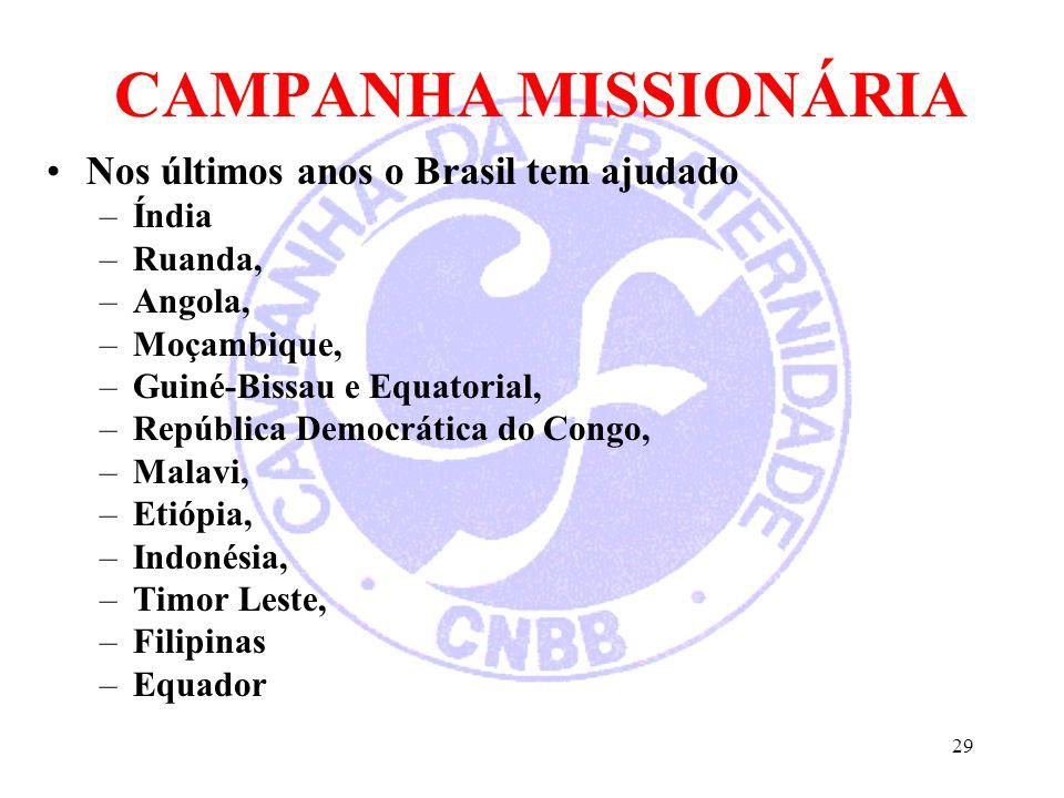 CAMPANHA MISSIONÁRIA Nos últimos anos o Brasil tem ajudado –Índia –Ruanda, –Angola, –Moçambique, –Guiné-Bissau e Equatorial, –República Democrática do