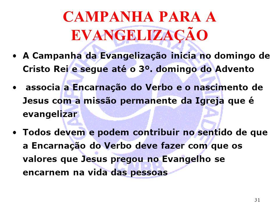 CAMPANHA PARA A EVANGELIZAÇÃO A Campanha da Evangelização inicia no domingo de Cristo Rei e segue até o 3º. domingo do Advento associa a Encarnação do