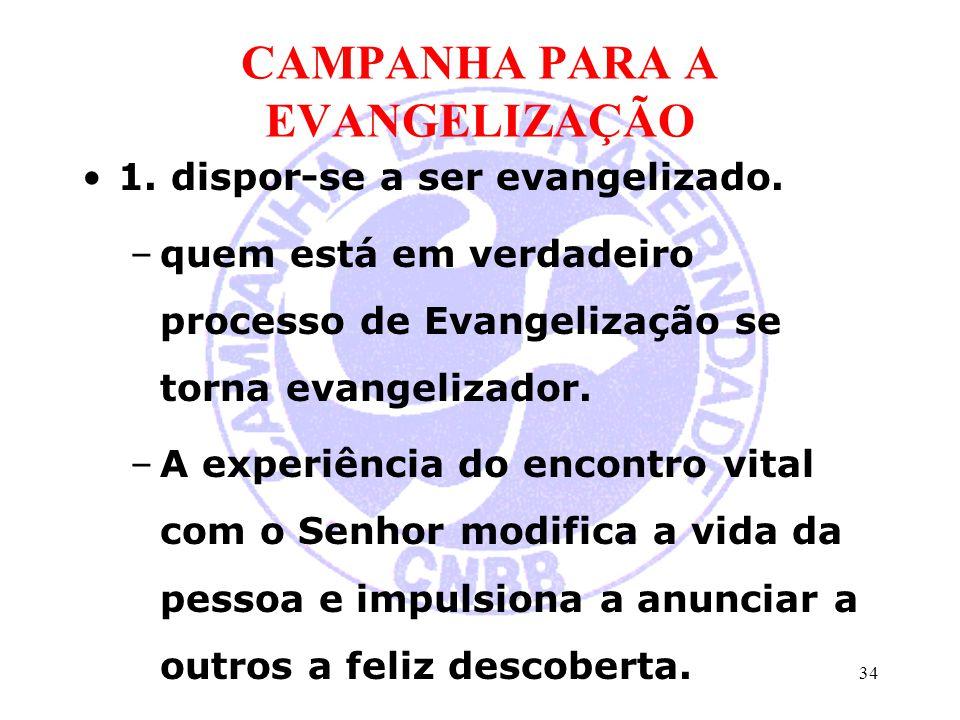 CAMPANHA PARA A EVANGELIZAÇÃO 1. dispor-se a ser evangelizado. –quem está em verdadeiro processo de Evangelização se torna evangelizador. –A experiênc