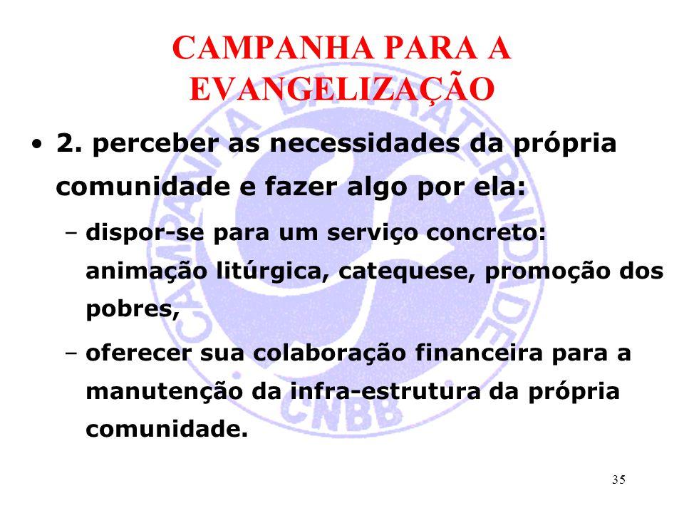 CAMPANHA PARA A EVANGELIZAÇÃO 2. perceber as necessidades da própria comunidade e fazer algo por ela: –dispor-se para um serviço concreto: animação li