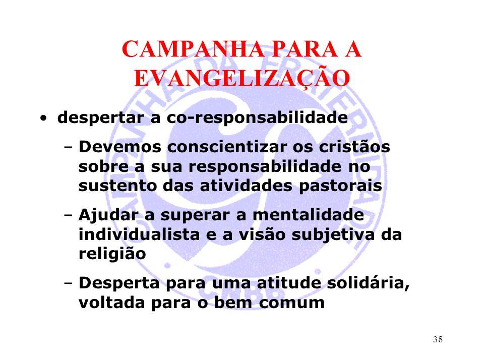 CAMPANHA PARA A EVANGELIZAÇÃO despertar a co-responsabilidade –Devemos conscientizar os cristãos sobre a sua responsabilidade no sustento das atividad
