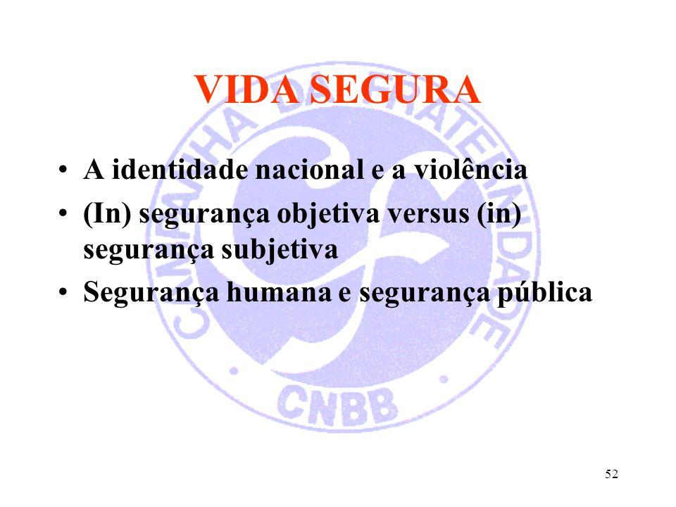 52 VIDA SEGURA A identidade nacional e a violência (In) segurança objetiva versus (in) segurança subjetiva Segurança humana e segurança pública