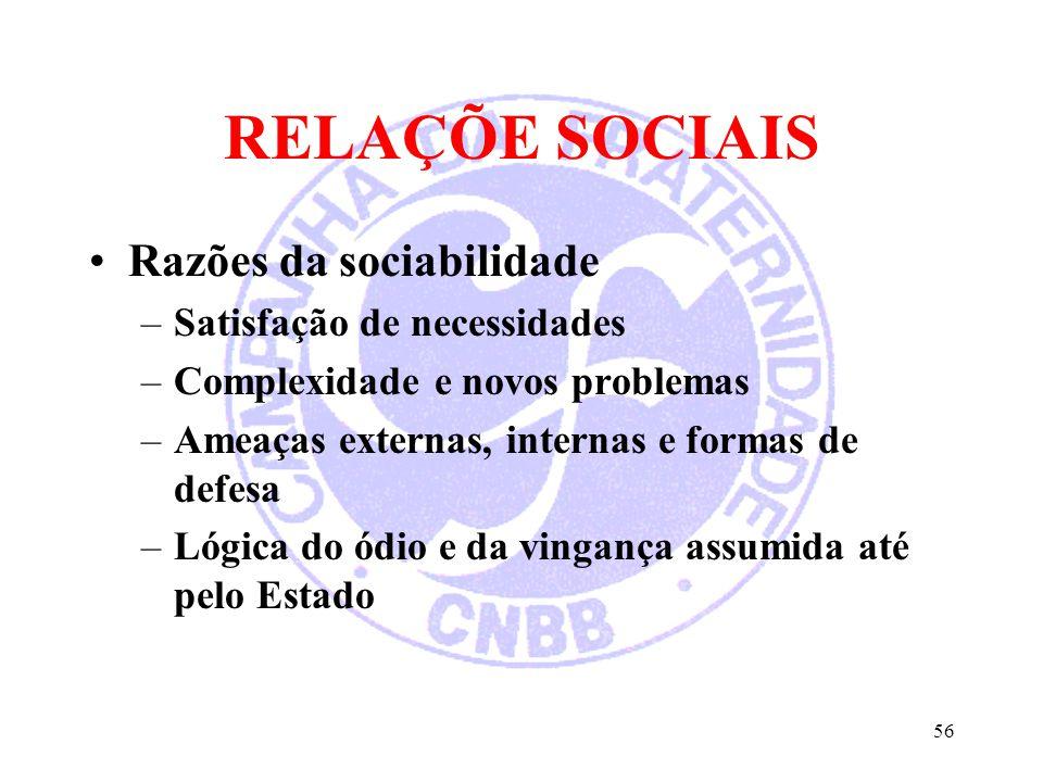 RELAÇÕE SOCIAIS Razões da sociabilidade –Satisfação de necessidades –Complexidade e novos problemas –Ameaças externas, internas e formas de defesa –Ló