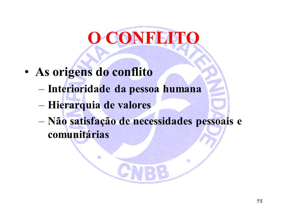 O CONFLITO As origens do conflito –Interioridade da pessoa humana –Hierarquia de valores –Não satisfação de necessidades pessoais e comunitárias 58