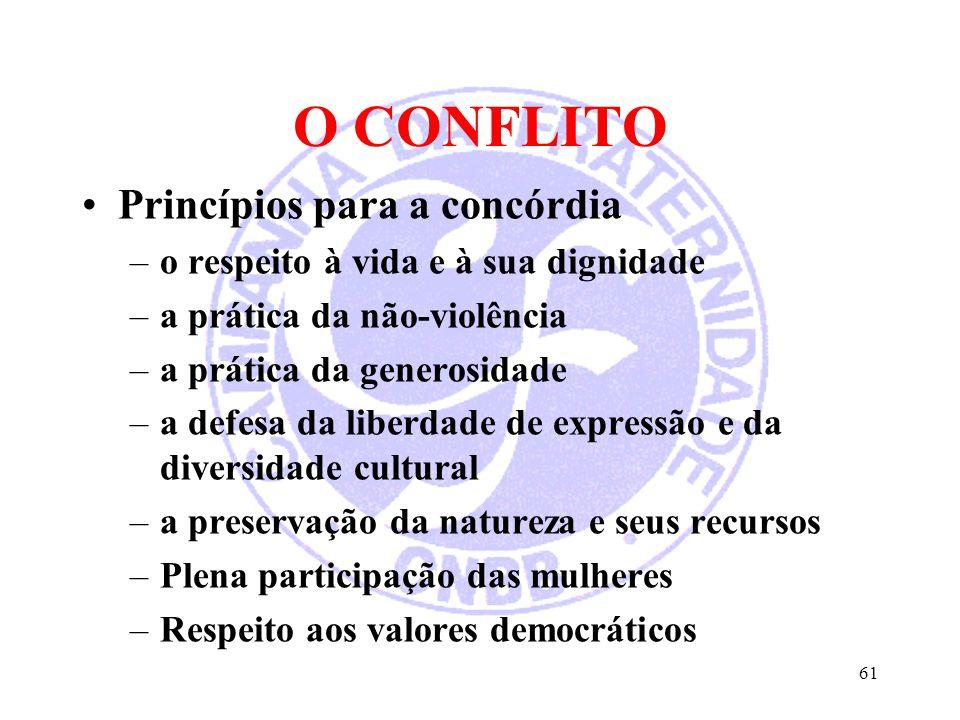 O CONFLITO Princípios para a concórdia –o respeito à vida e à sua dignidade –a prática da não-violência –a prática da generosidade –a defesa da liberd