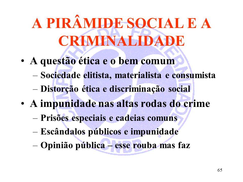 65 A PIRÂMIDE SOCIAL E A CRIMINALIDADE A questão ética e o bem comum –Sociedade elitista, materialista e consumista –Distorção ética e discriminação s