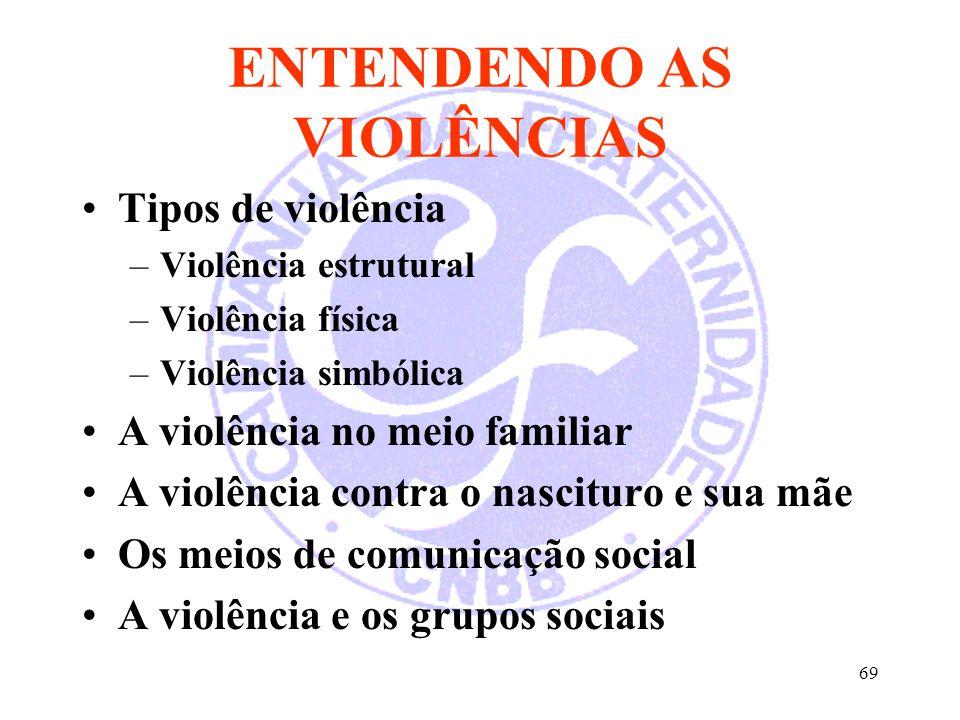 69 ENTENDENDO AS VIOLÊNCIAS Tipos de violência –Violência estrutural –Violência física –Violência simbólica A violência no meio familiar A violência c