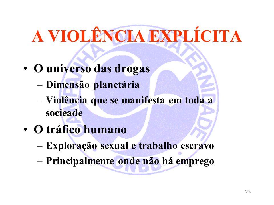 72 A VIOLÊNCIA EXPLÍCITA O universo das drogas –Dimensão planetária –Violência que se manifesta em toda a socieade O tráfico humano –Exploração sexual