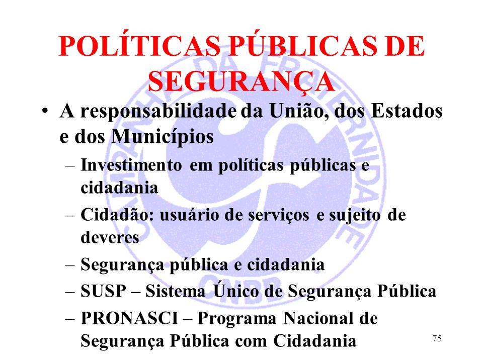 POLÍTICAS PÚBLICAS DE SEGURANÇA A responsabilidade da União, dos Estados e dos Municípios –Investimento em políticas públicas e cidadania –Cidadão: us