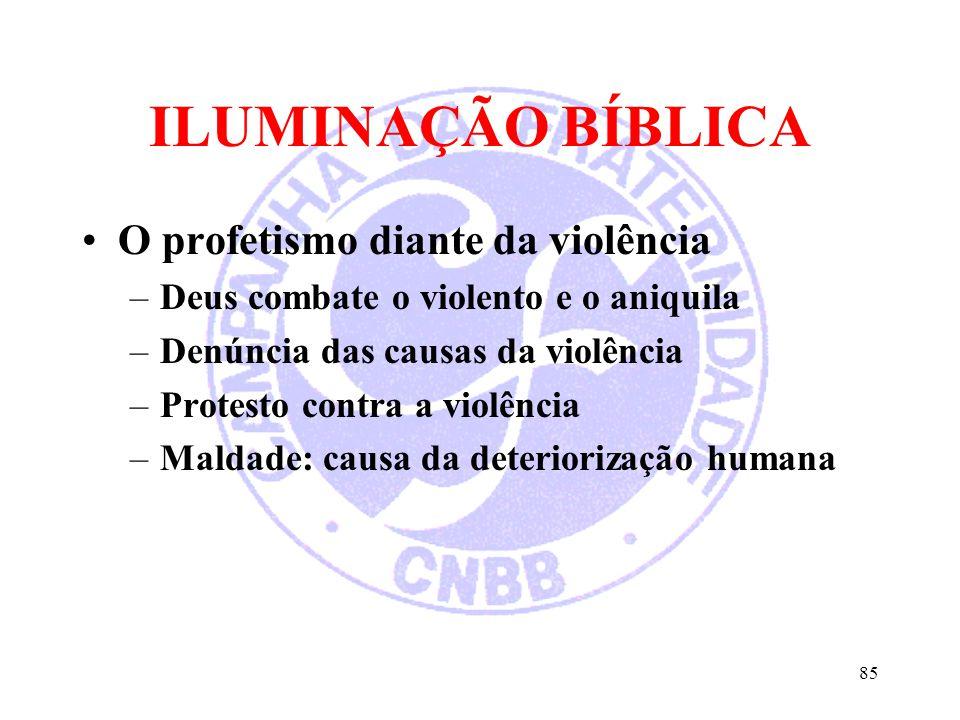 ILUMINAÇÃO BÍBLICA O profetismo diante da violência –Deus combate o violento e o aniquila –Denúncia das causas da violência –Protesto contra a violênc