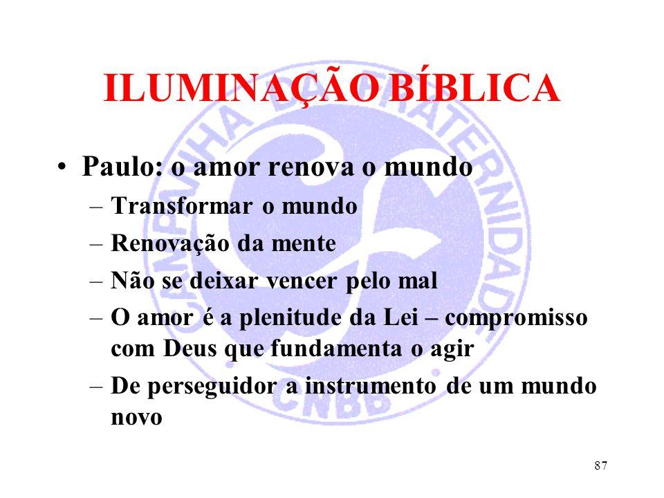 ILUMINAÇÃO BÍBLICA Paulo: o amor renova o mundo –Transformar o mundo –Renovação da mente –Não se deixar vencer pelo mal –O amor é a plenitude da Lei –