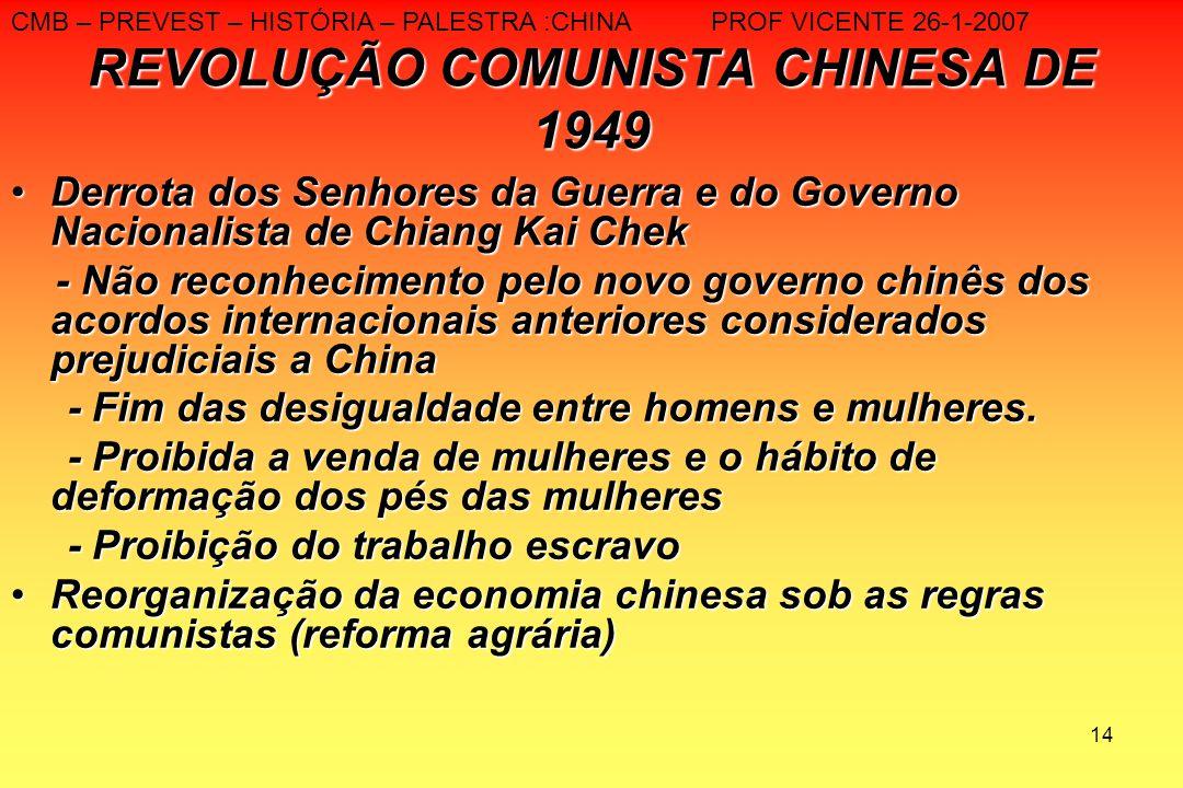 14 REVOLUÇÃO COMUNISTA CHINESA DE 1949 Derrota dos Senhores da Guerra e do Governo Nacionalista de Chiang Kai ChekDerrota dos Senhores da Guerra e do