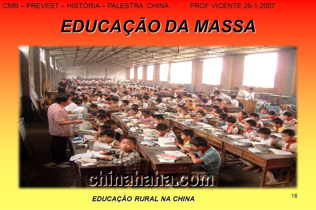 16 EDUCAÇÃO DA MASSA CMB – PREVEST – HISTÓRIA – PALESTRA :CHINA PROF VICENTE 26-1-2007 EDUCAÇÃO RURAL NA CHINA