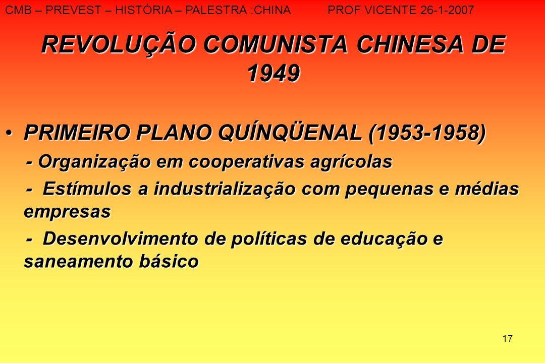 17 REVOLUÇÃO COMUNISTA CHINESA DE 1949 PRIMEIRO PLANO QUÍNQÜENAL (1953-1958)PRIMEIRO PLANO QUÍNQÜENAL (1953-1958) - Organização em cooperativas agríco