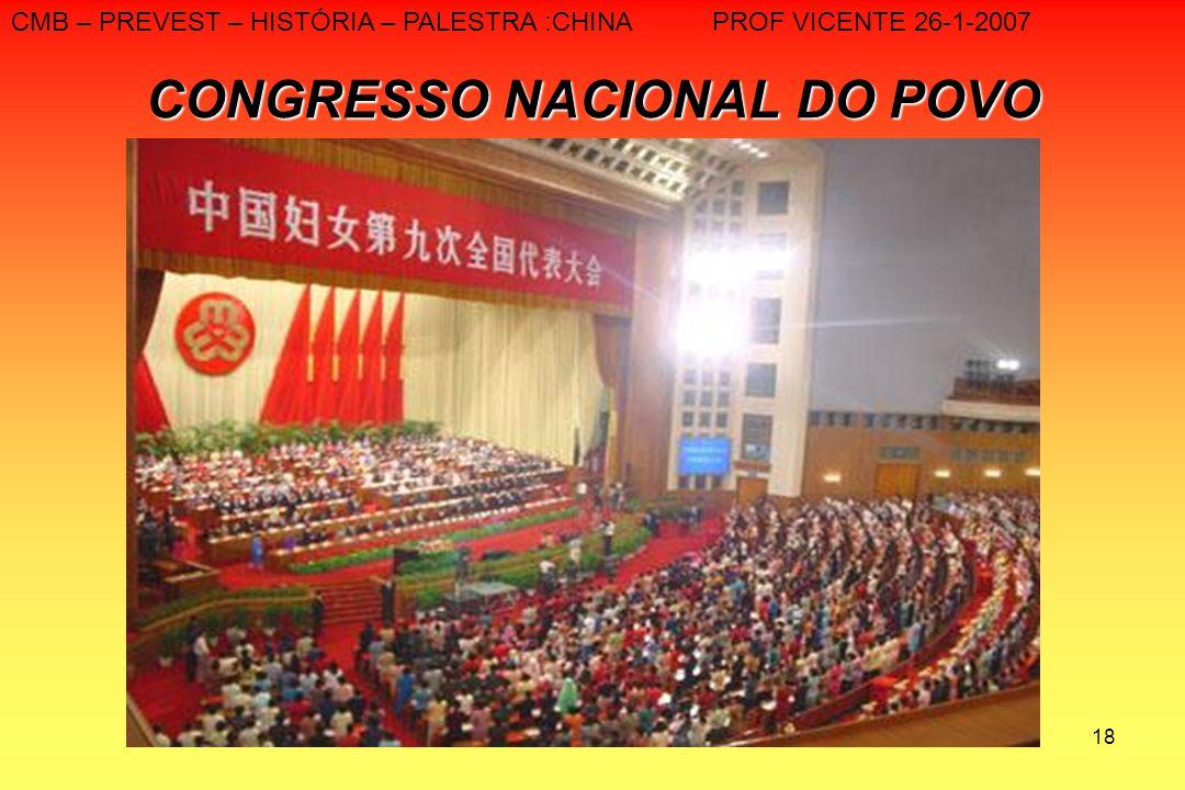 18 CONGRESSO NACIONAL DO POVO CMB – PREVEST – HISTÓRIA – PALESTRA :CHINA PROF VICENTE 26-1-2007