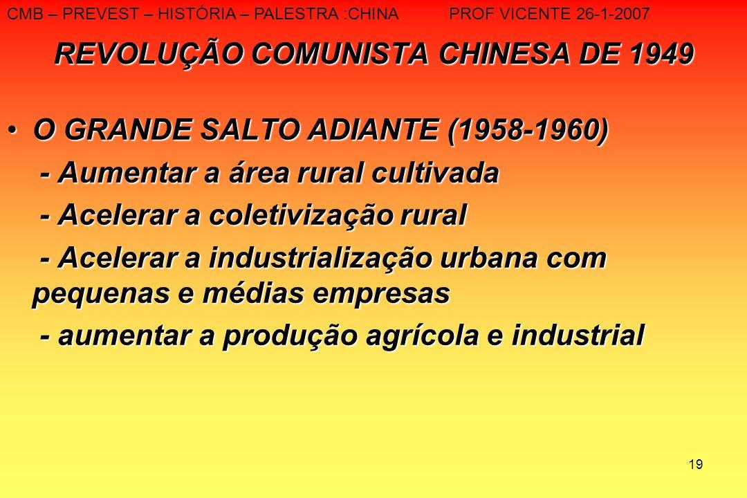 19 REVOLUÇÃO COMUNISTA CHINESA DE 1949 O GRANDE SALTO ADIANTE (1958-1960)O GRANDE SALTO ADIANTE (1958-1960) - Aumentar a área rural cultivada - Aument
