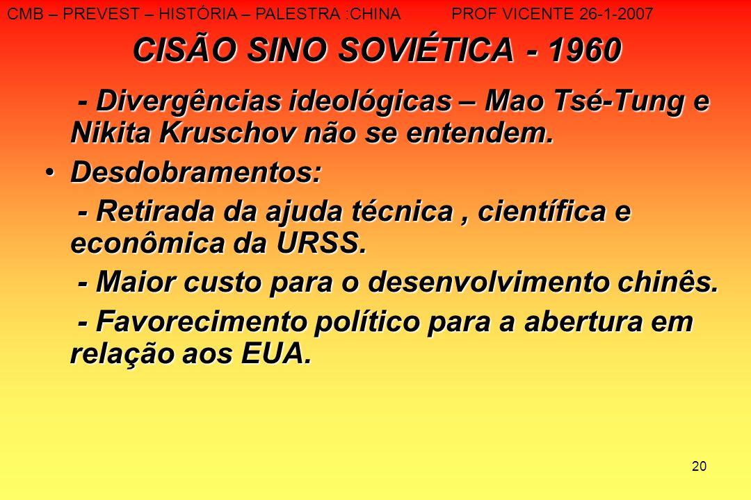 20 CISÃO SINO SOVIÉTICA - 1960 Divergências ideológicas – Mao Tsé-Tung e Nikita Kruschov não se entendem. - Divergências ideológicas – Mao Tsé-Tung e