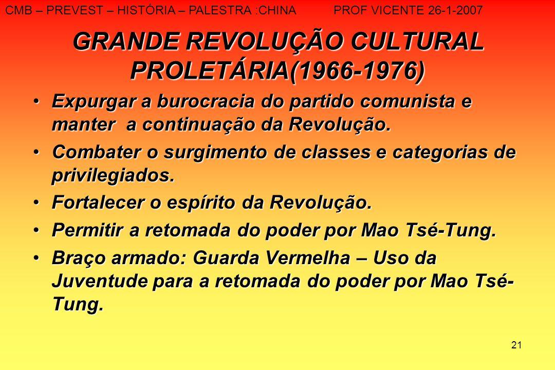 21 GRANDE REVOLUÇÃO CULTURAL PROLETÁRIA(1966-1976) Expurgar a burocracia do partido comunista e manter a continuação da Revolução.Expurgar a burocraci