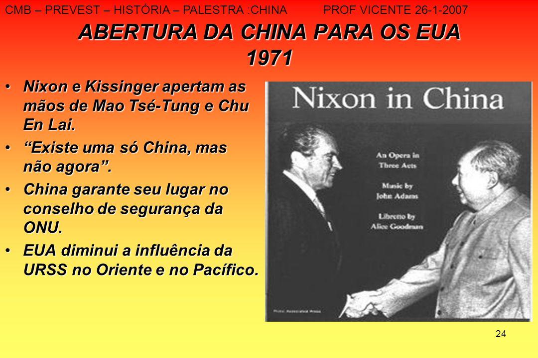 24 ABERTURA DA CHINA PARA OS EUA 1971 Nixon e Kissinger apertam as mãos de Mao Tsé-Tung e Chu En Lai.Nixon e Kissinger apertam as mãos de Mao Tsé-Tung