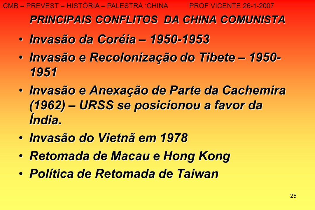 25 PRINCIPAIS CONFLITOS DA CHINA COMUNISTA Invasão da Coréia – 1950-1953Invasão da Coréia – 1950-1953 Invasão e Recolonização do Tibete – 1950- 1951In