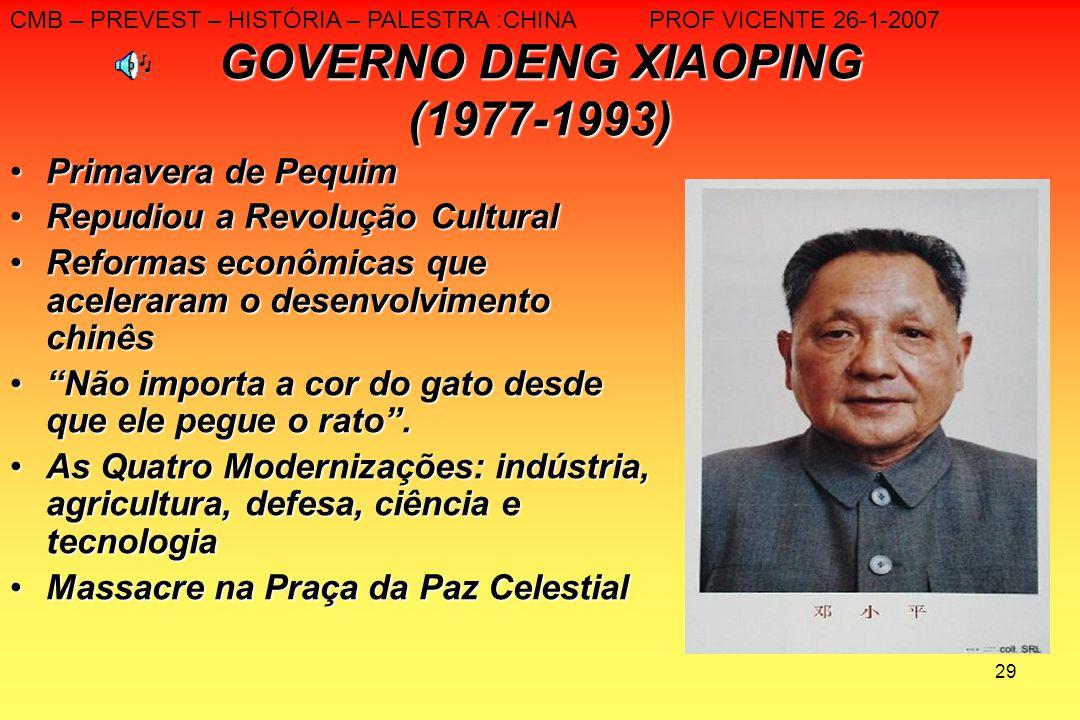 29 GOVERNO DENG XIAOPING (1977-1993) Primavera de PequimPrimavera de Pequim Repudiou a Revolução CulturalRepudiou a Revolução Cultural Reformas econôm