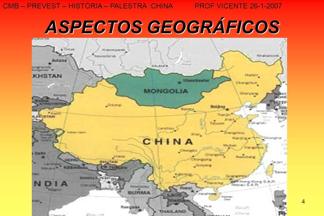 4 ASPECTOS GEOGRÁFICOS CMB – PREVEST – HISTÓRIA – PALESTRA :CHINA PROF VICENTE 26-1-2007