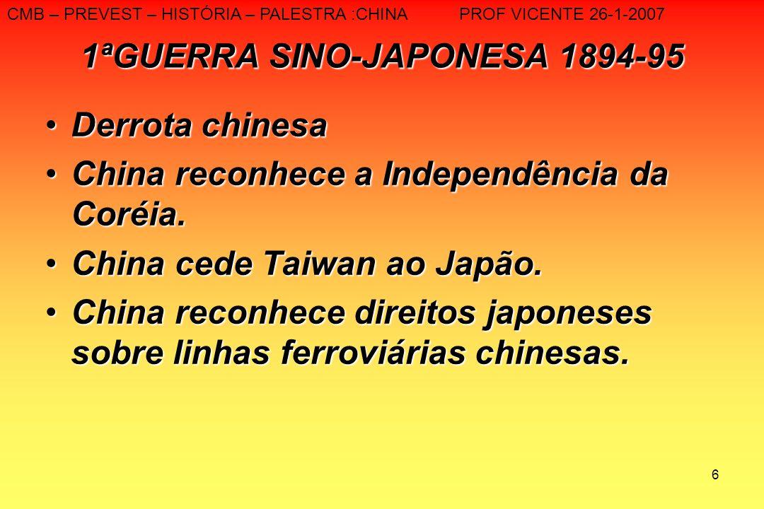 6 1ªGUERRA SINO-JAPONESA 1894-95 Derrota chinesaDerrota chinesa China reconhece a Independência da Coréia.China reconhece a Independência da Coréia. C