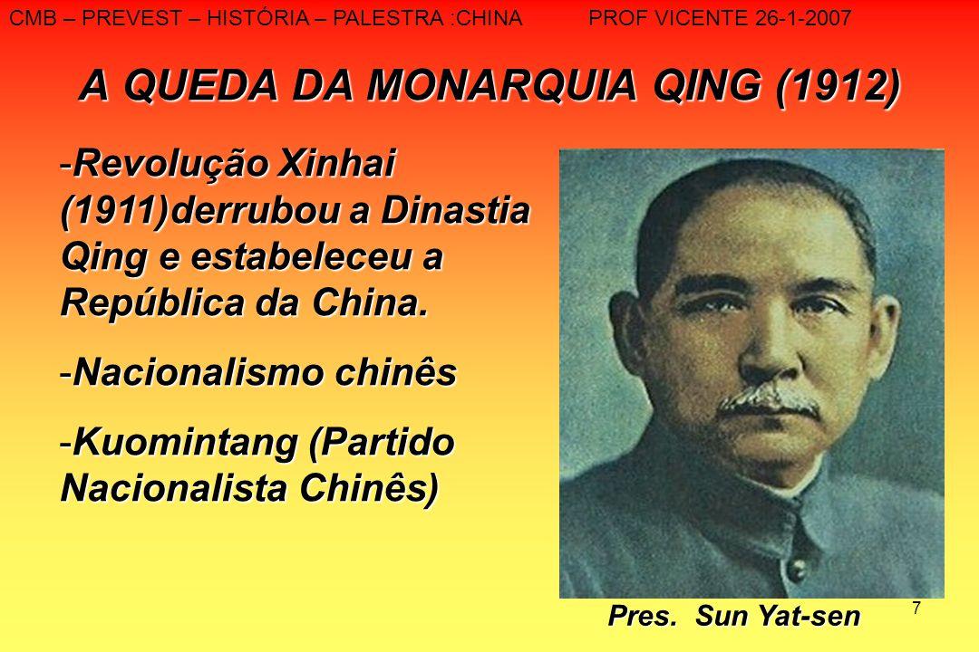 7 A QUEDA DA MONARQUIA QING (1912) CMB – PREVEST – HISTÓRIA – PALESTRA :CHINA PROF VICENTE 26-1-2007 -Revolução Xinhai (1911)derrubou a Dinastia Qing