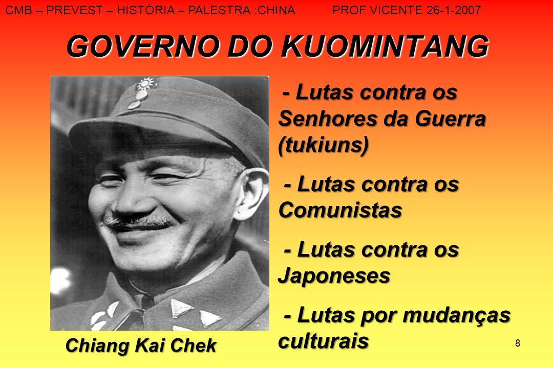 8 GOVERNO DO KUOMINTANG Chiang Kai Chek - Lutas contra os Senhores da Guerra (tukiuns) - Lutas contra os Comunistas - Lutas contra os Comunistas - Lut
