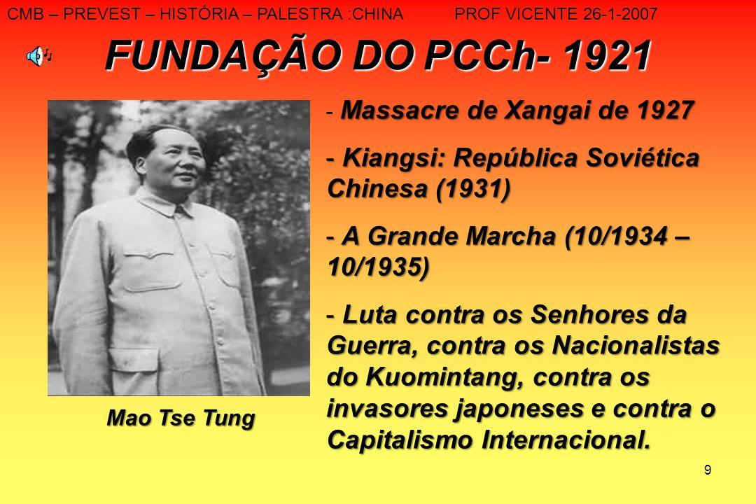 9 FUNDAÇÃO DO PCCh- 1921 Mao Tse Tung Massacre de Xangai de 1927 - Massacre de Xangai de 1927 - Kiangsi: República Soviética Chinesa (1931) - A Grande