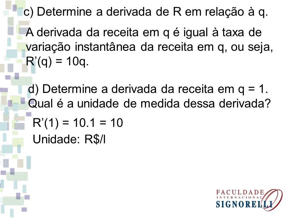 c) Determine a derivada de R em relação à q. A derivada da receita em q é igual à taxa de variação instantânea da receita em q, ou seja, R'(q) = 10q.