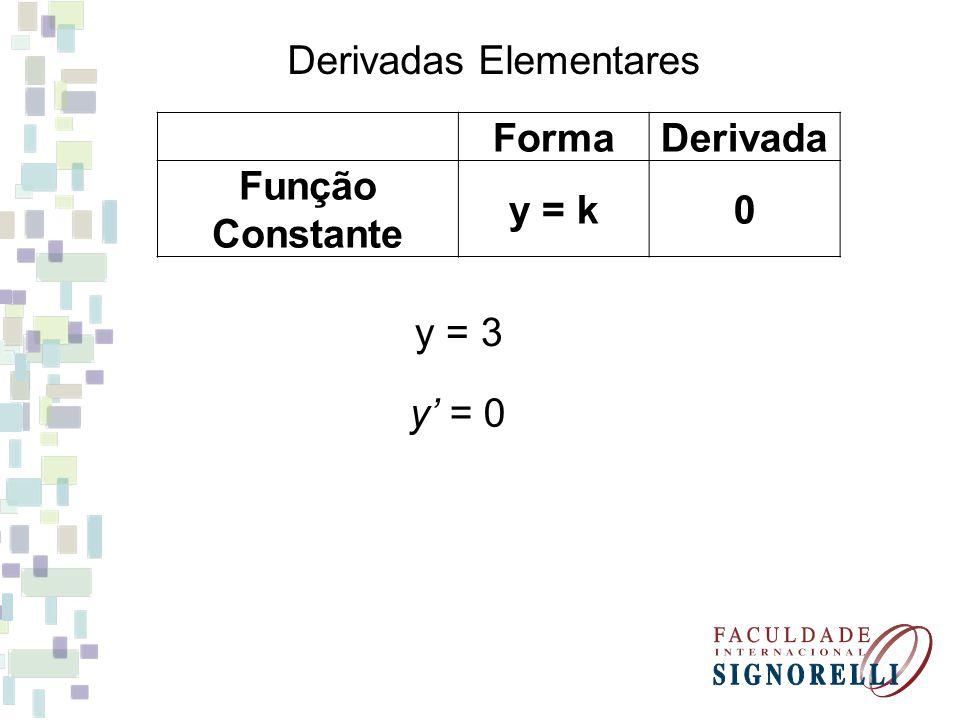 Derivadas Elementares FormaDerivada Função Constante y = k0 y = 3 y' = 0