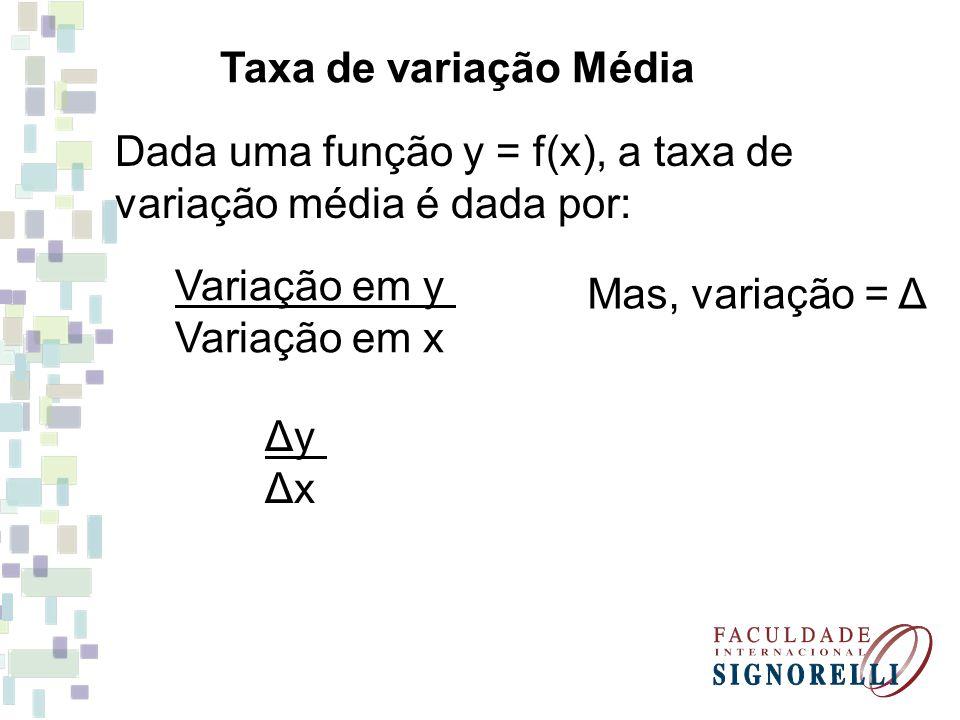 Taxa de variação Média Dada uma função y = f(x), a taxa de variação média é dada por: Variação em y Variação em x Mas, variação = Δ ΔyΔxΔyΔx