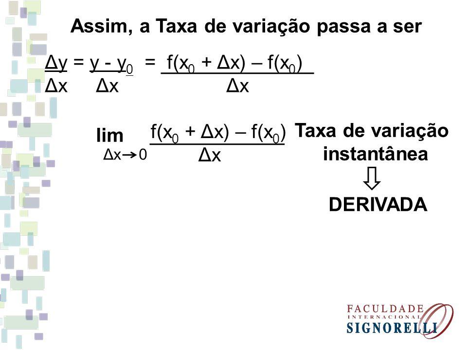 Taxa de variação instantânea Assim, a Taxa de variação passa a ser Δy = y - y 0 = f(x 0 + Δx) – f(x 0 ) Δx Δx Δx lim Δx 0 f(x 0 + Δx) – f(x 0 ) Δx DER