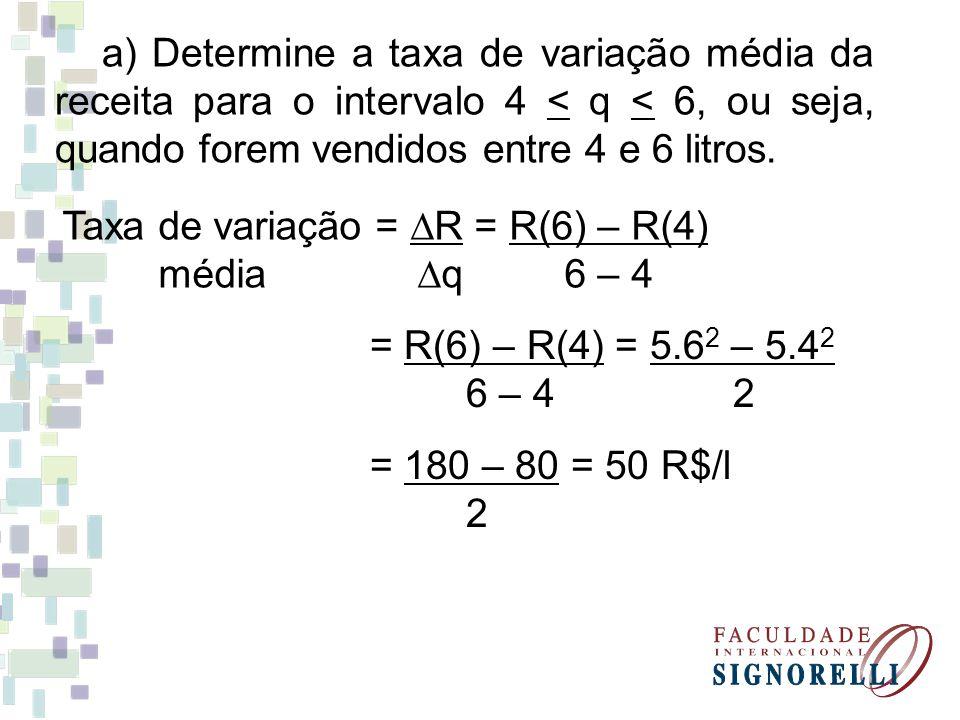 a) Determine a taxa de variação média da receita para o intervalo 4 < q < 6, ou seja, quando forem vendidos entre 4 e 6 litros. Taxa de variação = ∆R