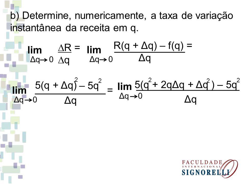 b) Determine, numericamente, a taxa de variação instantânea da receita em q. lim Δq 0 ∆R = ∆q R(q + Δq) – f(q) = Δq lim Δq 0 5(q + Δq) 2 – 5q 2 ΔqΔq l
