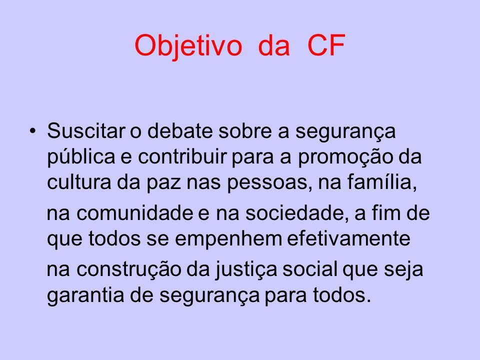 Objetivo da CF Suscitar o debate sobre a segurança pública e contribuir para a promoção da cultura da paz nas pessoas, na família, na comunidade e na