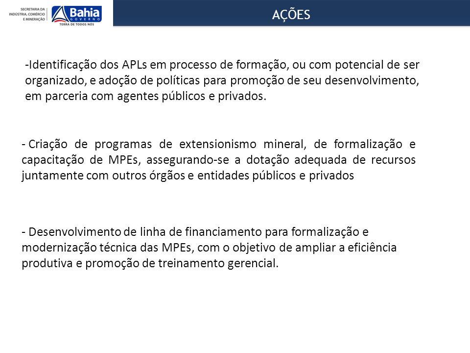 AÇÕES -Identificação dos APLs em processo de formação, ou com potencial de ser organizado, e adoção de políticas para promoção de seu desenvolvimento, em parceria com agentes públicos e privados.