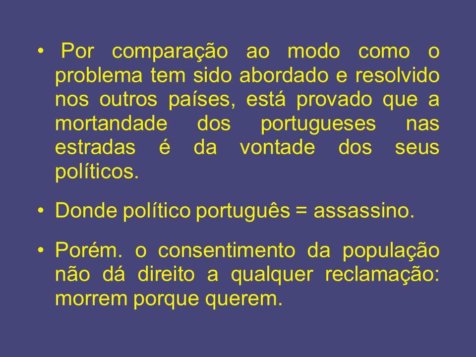 Por comparação ao modo como o problema tem sido abordado e resolvido nos outros países, está provado que a mortandade dos portugueses nas estradas é d