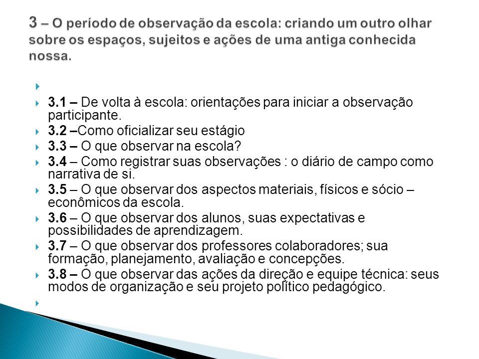  3.1 – De volta à escola: orientações para iniciar a observação participante.  3.2 –Como oficializar seu estágio  3.3 – O que observar na escola? 