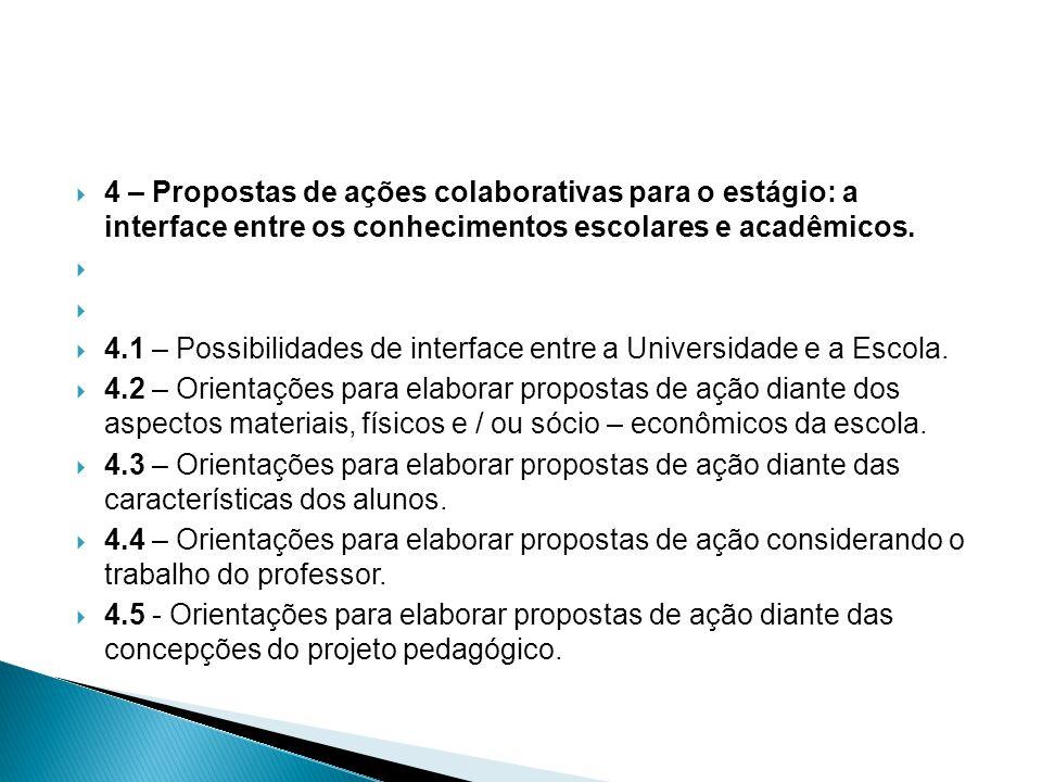  4 – Propostas de ações colaborativas para o estágio: a interface entre os conhecimentos escolares e acadêmicos.   4.1 – Possibilidades de interfac
