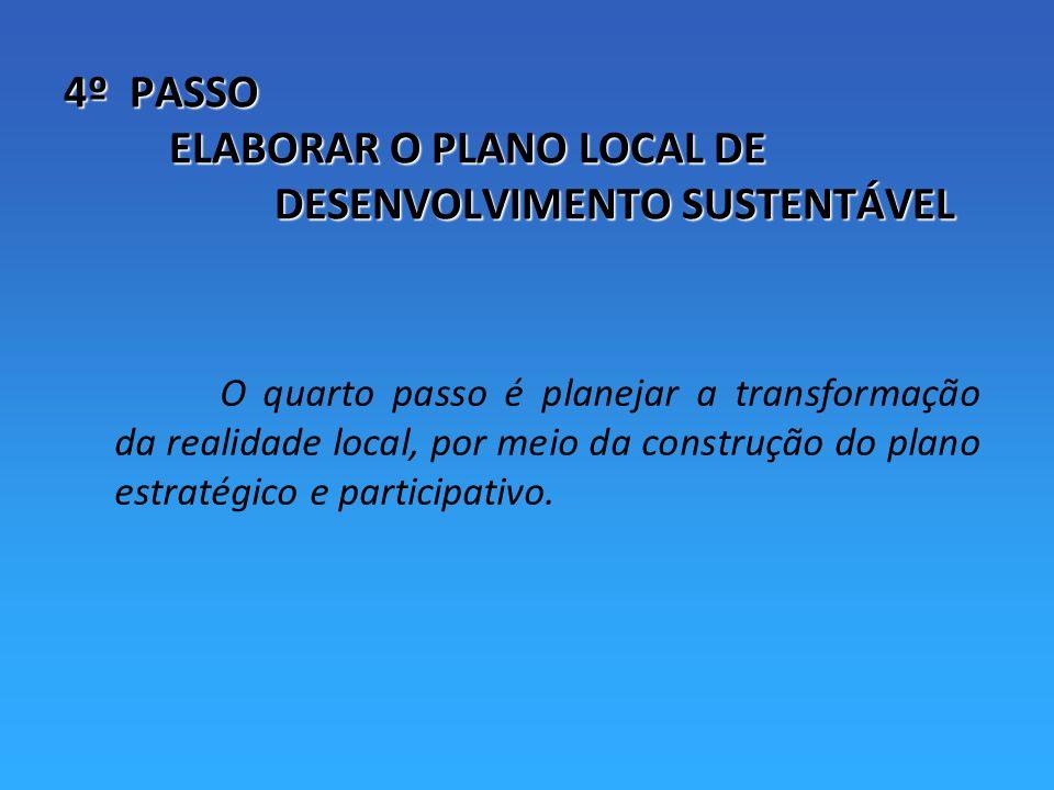 4º PASSO ELABORAR O PLANO LOCAL DE DESENVOLVIMENTO SUSTENTÁVEL O quarto passo é planejar a transformação da realidade local, por meio da construção do plano estratégico e participativo.