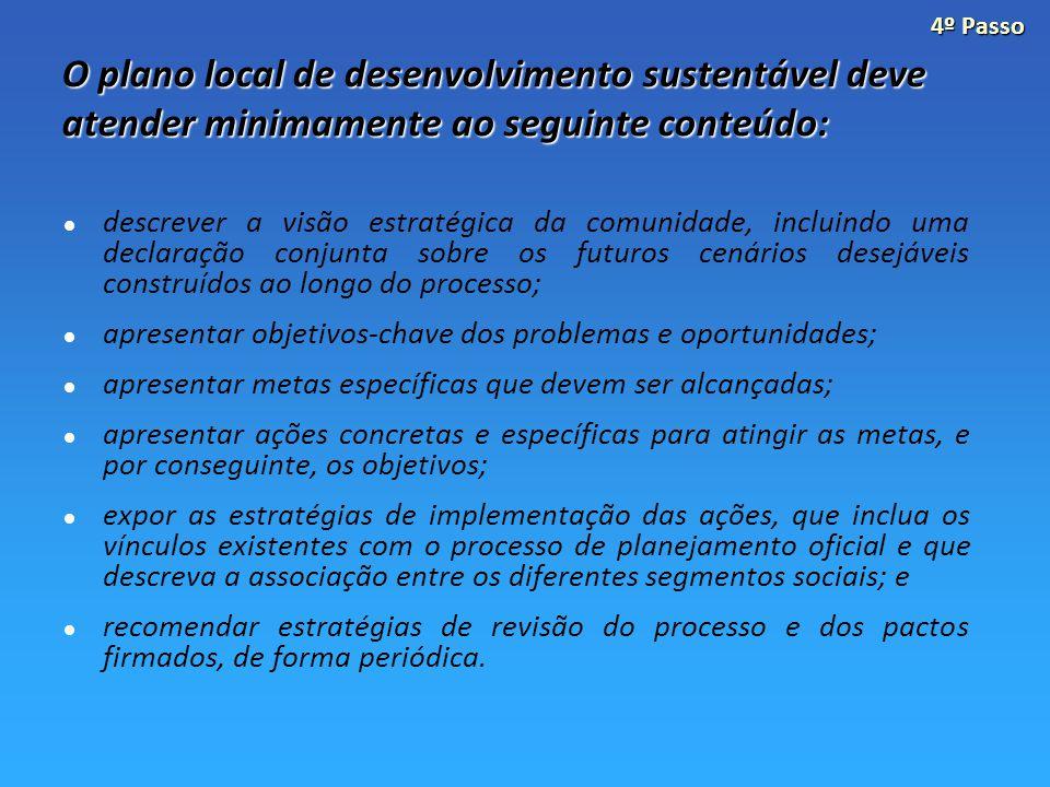 O plano local de desenvolvimento sustentável deve atender minimamente ao seguinte conteúdo: descrever a visão estratégica da comunidade, incluindo uma declaração conjunta sobre os futuros cenários desejáveis construídos ao longo do processo; apresentar objetivos-chave dos problemas e oportunidades; apresentar metas específicas que devem ser alcançadas; apresentar ações concretas e específicas para atingir as metas, e por conseguinte, os objetivos; expor as estratégias de implementação das ações, que inclua os vínculos existentes com o processo de planejamento oficial e que descreva a associação entre os diferentes segmentos sociais; e recomendar estratégias de revisão do processo e dos pactos firmados, de forma periódica.