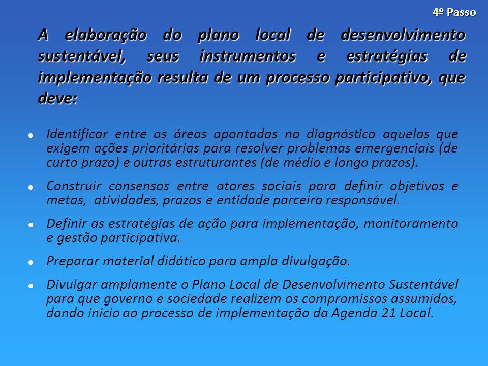 A elaboração do plano local de desenvolvimento sustentável, seus instrumentos e estratégias de implementação resulta de um processo participativo, que deve: Identificar entre as áreas apontadas no diagnóstico aquelas que exigem ações prioritárias para resolver problemas emergenciais (de curto prazo) e outras estruturantes (de médio e longo prazos).