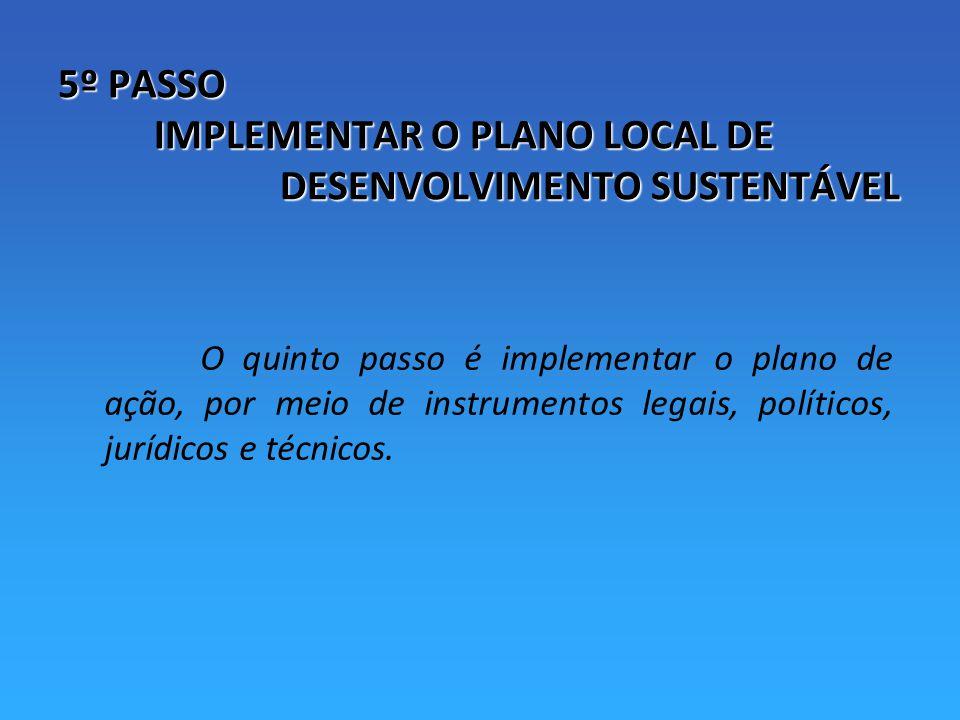 5º PASSO IMPLEMENTAR O PLANO LOCAL DE DESENVOLVIMENTO SUSTENTÁVEL O quinto passo é implementar o plano de ação, por meio de instrumentos legais, políticos, jurídicos e técnicos.