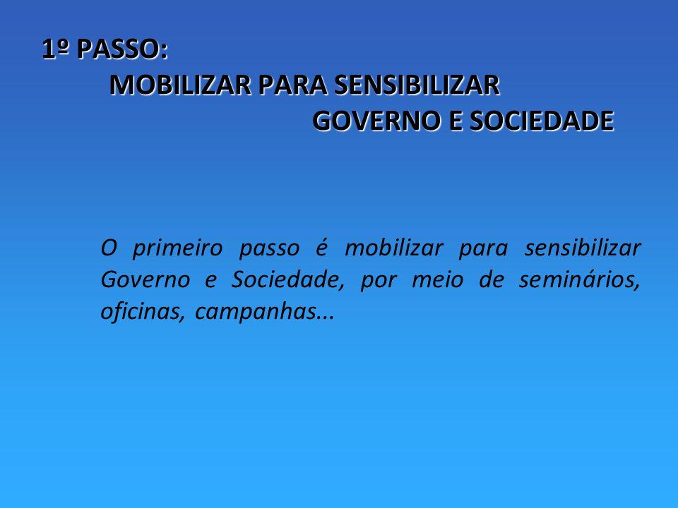 1º PASSO: MOBILIZAR PARA SENSIBILIZAR GOVERNO E SOCIEDADE O primeiro passo é mobilizar para sensibilizar Governo e Sociedade, por meio de seminários, oficinas, campanhas...