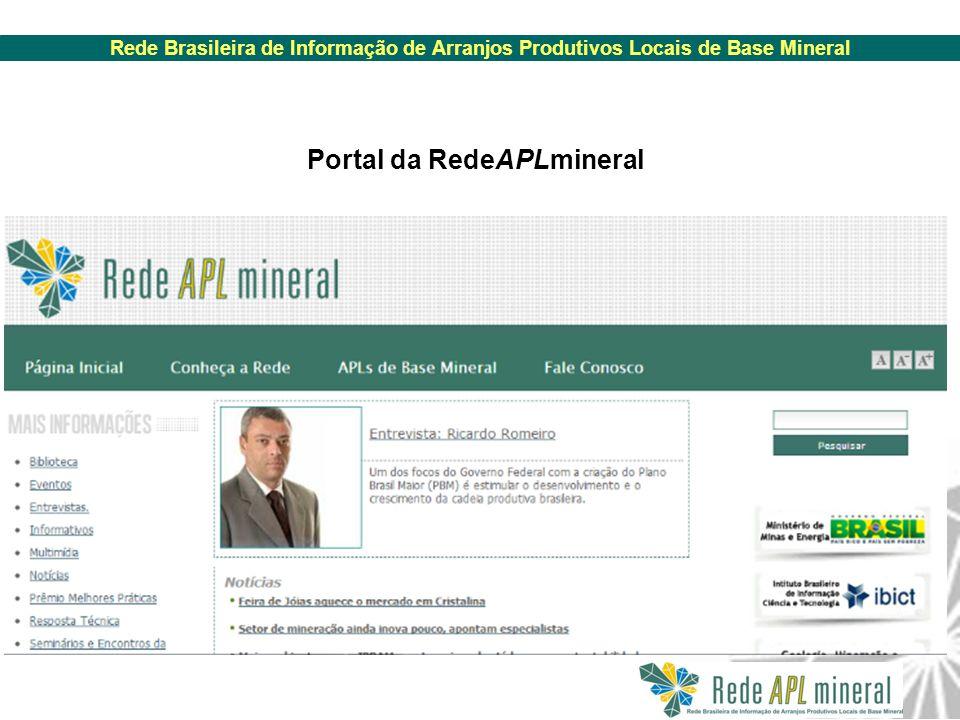Rede Brasileira de Informação de Arranjos Produtivos Locais de Base Mineral Portal da RedeAPLmineral