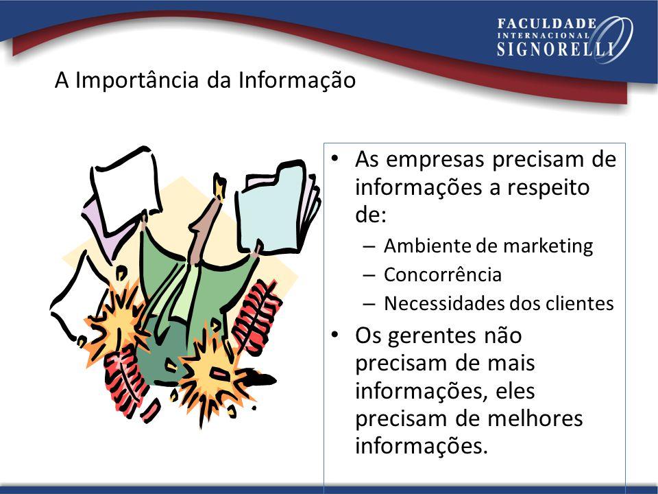 A Importância da Informação As empresas precisam de informações a respeito de: – Ambiente de marketing – Concorrência – Necessidades dos clientes Os g