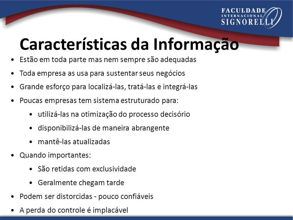 Características da Informação Estão em toda parte mas nem sempre são adequadas Toda empresa as usa para sustentar seus negócios Grande esforço para lo